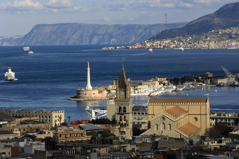View on the Strait of Messina from the Sacrarium of Cristo Re